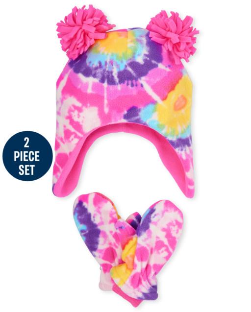 Toddler Girls Tie Dye Glacier Fleece Hat And Mittens Set