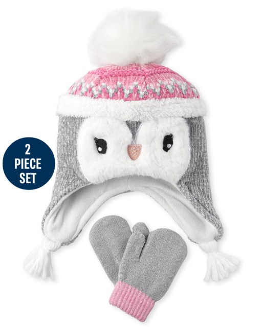 Toddler Girls Chenille Penguin Hat And Mittens Set
