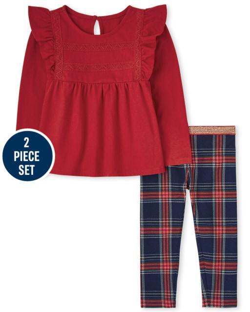 Conjunto de 2 piezas con top con volantes de manga larga y leggings de punto a cuadros para niñas pequeñas