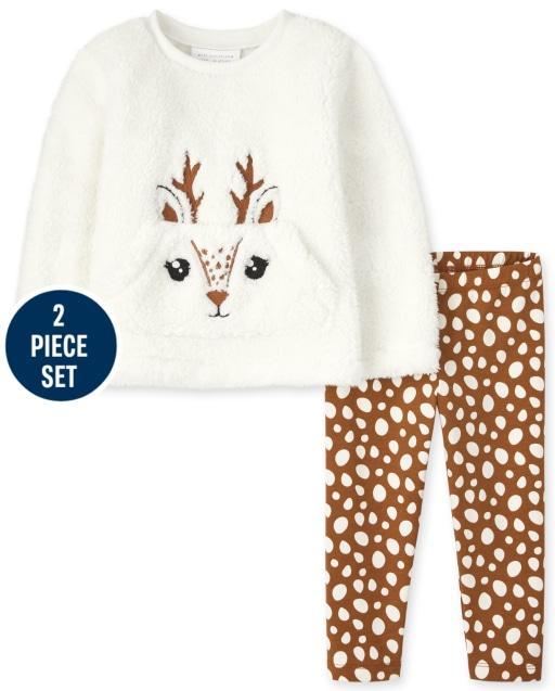Conjunto de 2 piezas de leggings de punto con estampado y top de sherpa de reno de manga larga para niñas pequeñas