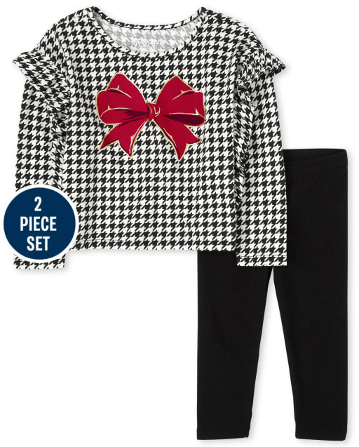 Toddler Girls Long Sleeve Bow Ruffle Top And Knit Leggings 2-Piece Set