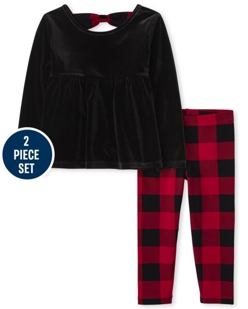 Conjunto de 2 piezas de leggings de punto de cuadros de búfalo y top de terciopelo de manga larga con lazo en la espalda para niñas pequeñas