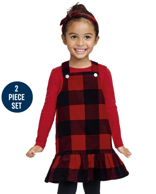 Conjunto de 2 piezas con top de manga larga y falda de pana a cuadros de búfalo sin mangas para niñas pequeñas