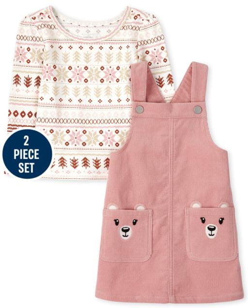 Toddler Girls Long Sleeve Fairisle Top And Sleeveless Polar Bear Corduroy Skirtall 2-Piece Set