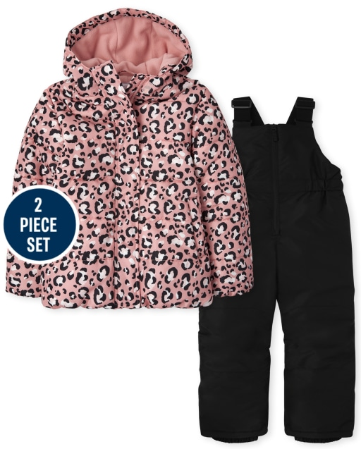 Girls Long Sleeve Leopard 3 In 1 Jacket And Sleeveless Solid Snow Overalls 2-Piece Snow Set
