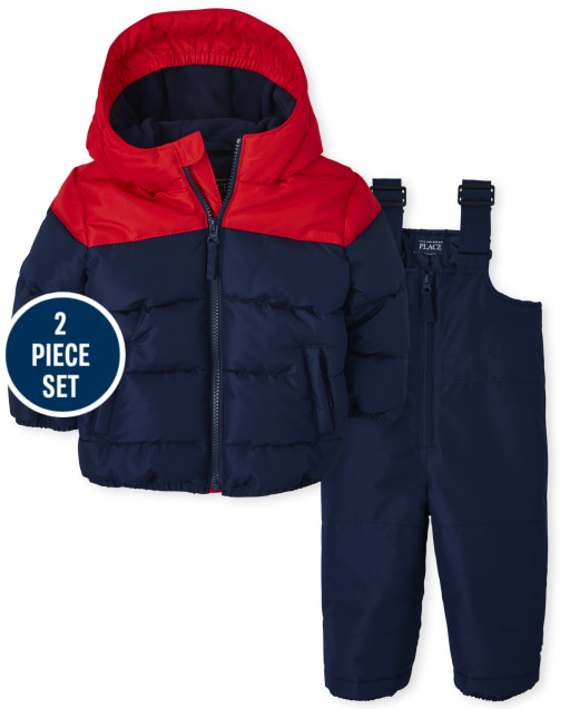 Toddler Boys Long Sleeve 3 In 1 Jacket And Sleeveless Solid Snow Overalls 2-Piece Snow Set