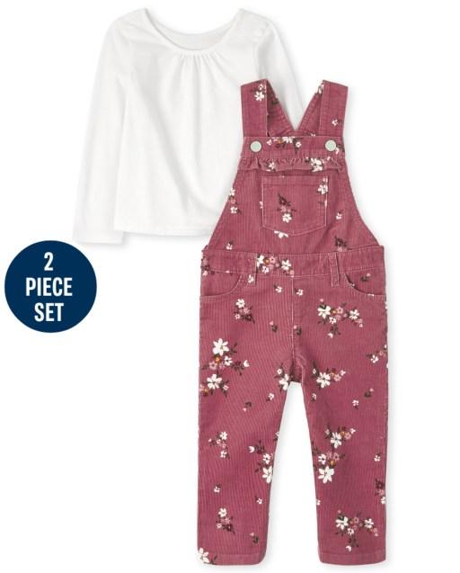 Conjunto de 2 piezas de mono de pana sin mangas con estampado floral y top de manga larga para niñas pequeñas