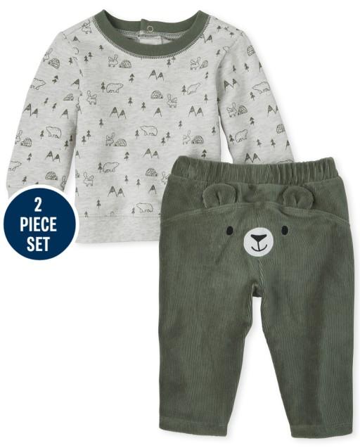 Baby Boys Long Sleeve Bear Print French Terry Sweatshirt And Bear Velour Pants 2-Piece Playwear Set