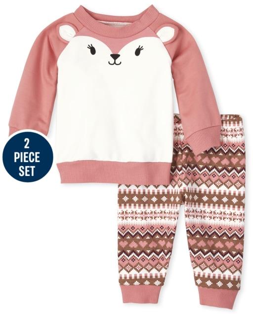 Conjunto de 2 piezas de ropa de juego de 2 piezas con sudadera de felpa francesa con ciervos y manga raglán larga para bebés y pantalones de punto Fairisle