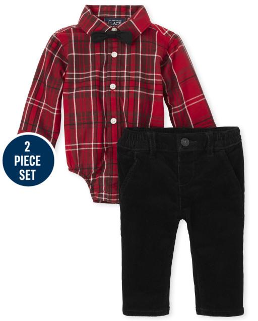 Baby Boys Long Sleeve Plaid Print Poplin Button Down Bodysuit And Woven Chino Pants 2-Piece Set