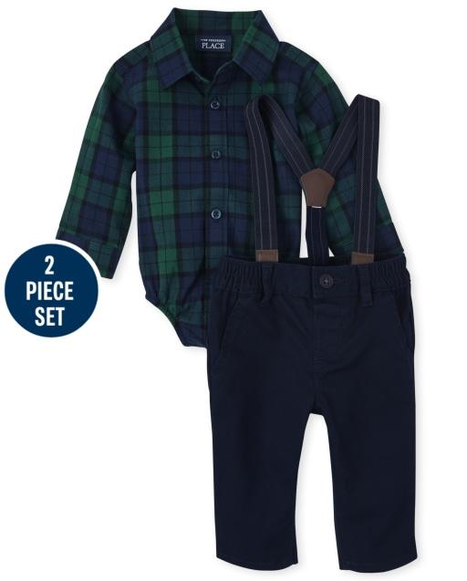 Baby Boys Long Sleeve Plaid Poplin Bodysuit And Twill Pants Matching 2-Piece Set