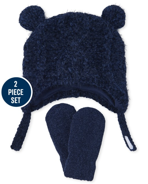 Baby Boys Cozy Cable Knit Chenille Hat And Mittens Set