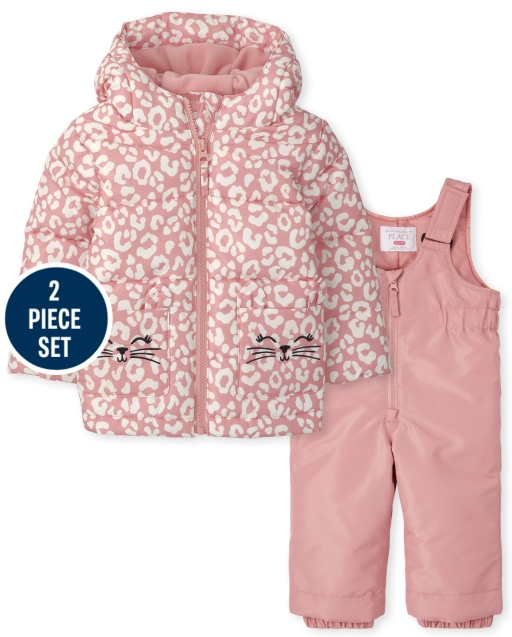 Toddler Girls Long Sleeve Leopard 3 In 1 Jacket And Sleeveless Solid Snow Overalls 2-Piece Snow Set
