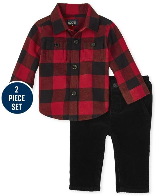 Baby Boys Christmas Matching Family Long Sleeve Buffalo Plaid Flannel Button Down Shirt And Corduroy Pants 2-Piece Set