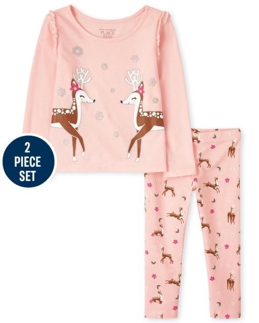 Toddler Girls Mix And Match Long Sleeve Reindeer Top And Leggings 2-Piece Set