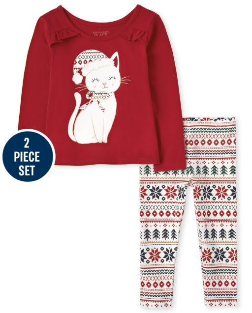 Conjunto de 2 piezas de gato navideño para niñas pequeñas