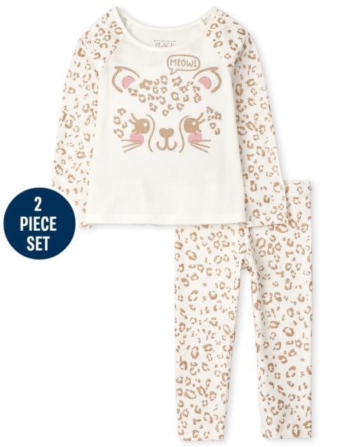 Toddler Girls Long Sleeve Leopard Top And Leopard Print Knit Leggings 2-Piece Set