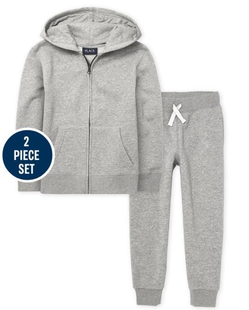 Boys Uniform Long Sleeve Zip Up Hoodie And Active Fleece Jogger Pants 2-Piece Set