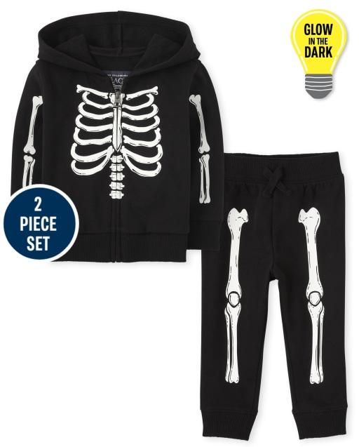 Toddler Boys Long Sleeve Halloween Glow In The Dark Skeleton Zip Up Hoodie And Jogger Pants 2-Piece Set