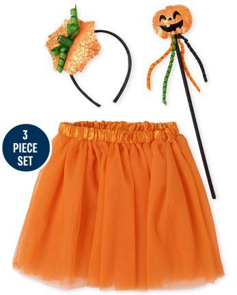 Girls Halloween Pumpkin Costume Set