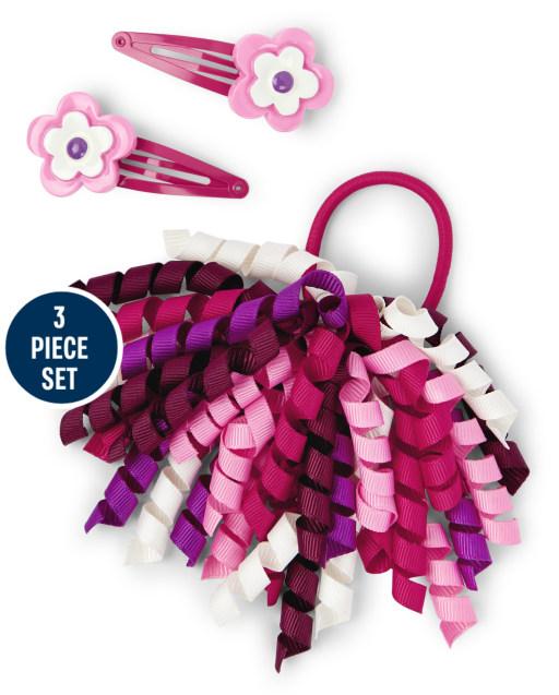 Pinzas para el pelo con flores y lazo para el pelo rizado para niñas, juego de 3 piezas - Tree House