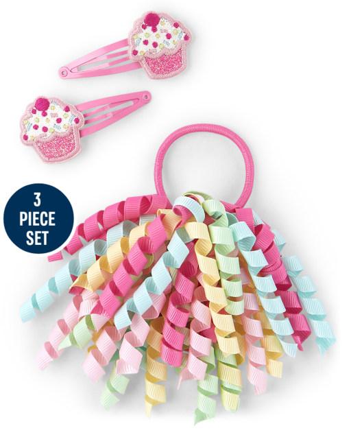 Juego de 3 pinzas para el cabello con purpurina y lazo para el cabello rizado para niñas - Birthday Boutique