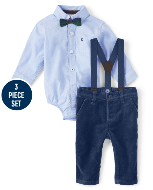 Baby Boys Button Up Bodysuit Woven Dress Pants Bow Tie And Suspenders Set - Family Celebrations Green