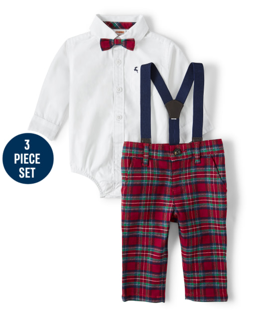 Baby Boys Matching Family Long Sleeve Button Up Bodysuit Plaid Dress Pants Bow Tie And Suspenders Set - Family Celebrations Red