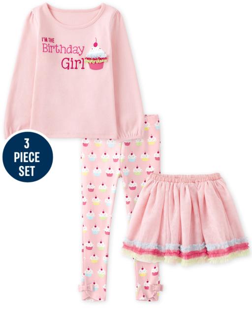 Niñas de manga larga bordado Cupcake ' I ' m The Birthday Girl ' Top y tejido con volantes Tutu y estampado de cupcakes Leggings de punto con lazo - Birthday Boutique
