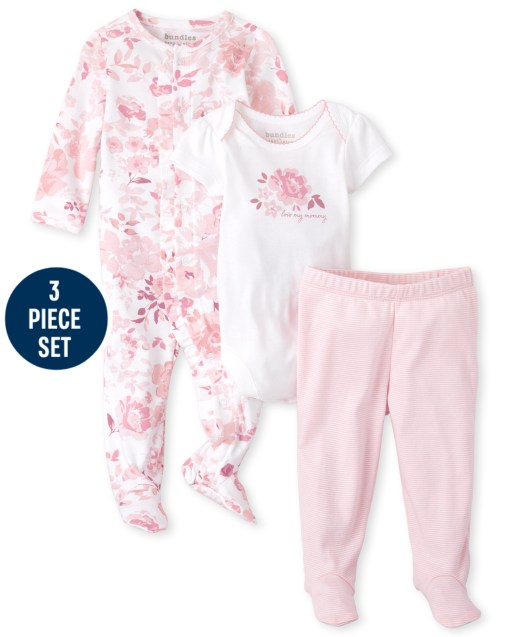 Baby Girls Short Sleeve Rose Bodysuit Long Sleeve Rose Print Sleep And Play And Ruffle Knit Pants 3-Piece Take Me Home Set