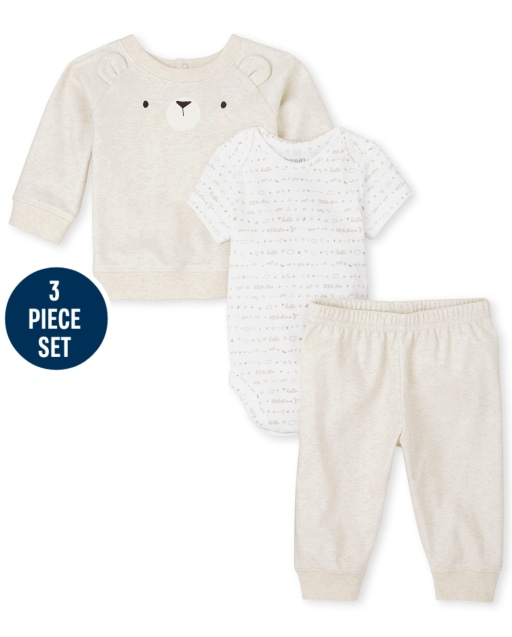 Unisex Baby Short Sleeve Star Bodysuit Long Sleeve Bear Top And Knit Pants 3-Piece Take Me Home Set