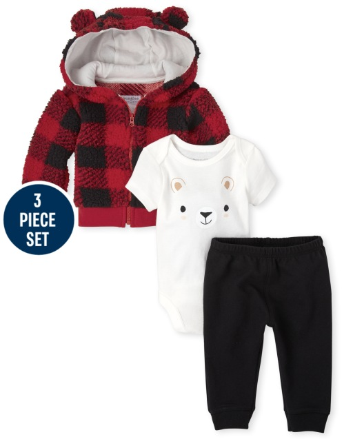 Baby Boys Long Sleeve Buffalo Plaid Sherpa Jacket Short Sleeve Bear Bodysuit And Solid Knit Pants 3-Piece Playwear Set