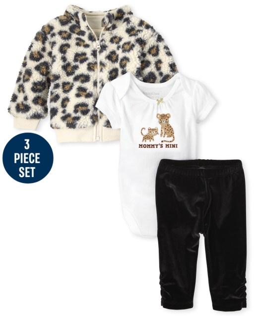 Chaqueta Sherpa con cremallera y estampado de leopardo de manga larga para niñas bebés Manga corta ' Lo conseguí de mi mamá ' Body y pantalones de terciopelo Conjunto de ropa de juego de 3 piezas