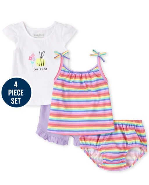 Baby Girls Short Sleeve Bee Top Sleeveless Striped Tie Shoulder Top Knit Ruffle Shorts And Striped Bloomers 4-Piece Playwear Set