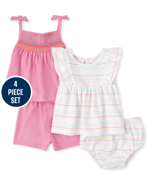 Baby Girls Sleeveless Smocked Tie Shoulder Top Striped Ruffle Top Knit Shorts and Bloomers 4-Piece Playwear Set