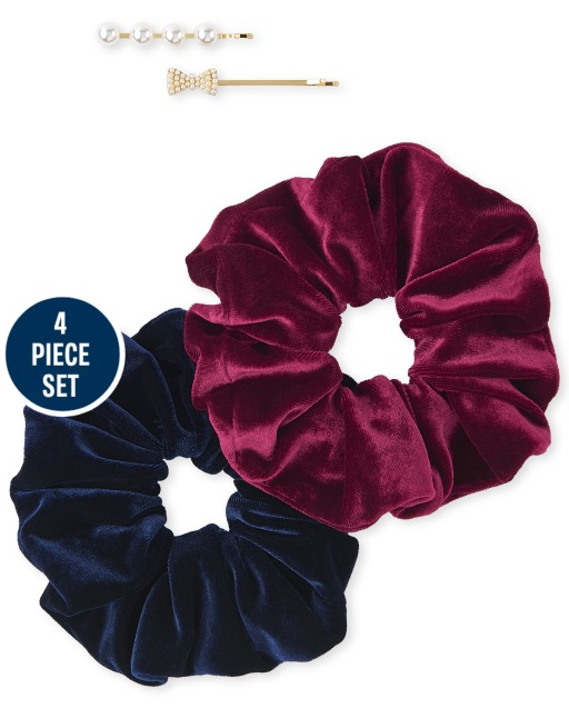 Girls 4-Piece Scrunchie And Hair Clip Set