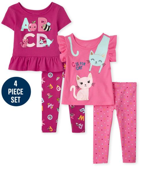 Conjunto de 4 piezas de leggings de punto estampado y blusas con volantes gráficos de educación de manga corta para niñas pequeñas