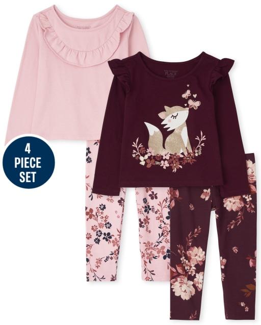 Conjunto de 4 piezas de blusas con volantes de manga larga y leggings de punto con estampado floral para niñas pequeñas