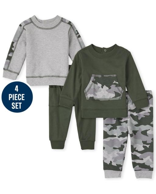 Baby Boys Long Sleeve Camo Sweatshirts And Knit Pants 4-Piece Playwear Set