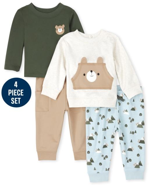 Baby Boys Long Sleeve Bear Sweatshirt Long Sleeve Bear Top And Knit Pants 4-Piece Playwear Set