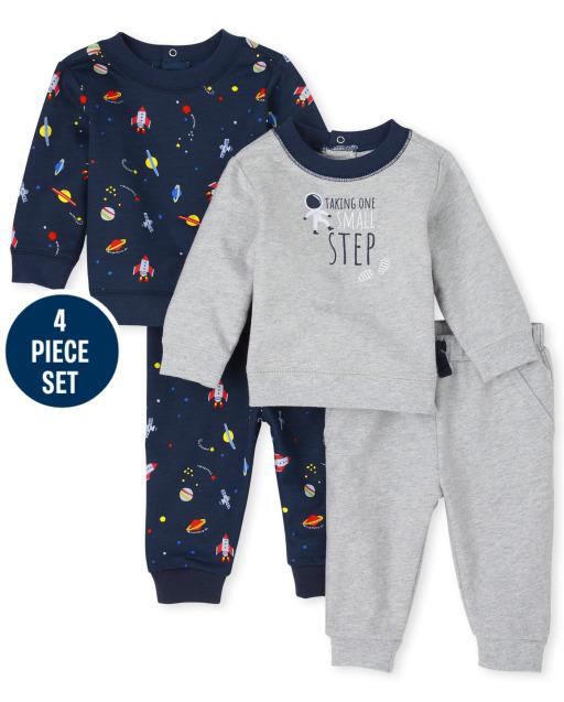 Baby Boys Long Sleeve Space Sweatshirts And Knit Pants 4-Piece Playwear Set