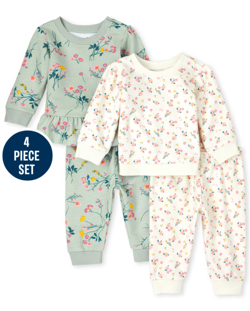 Baby Girls Long Sleeve Floral Print French Terry Sweatshirts And Knit Pants 4-Piece Playwear Set