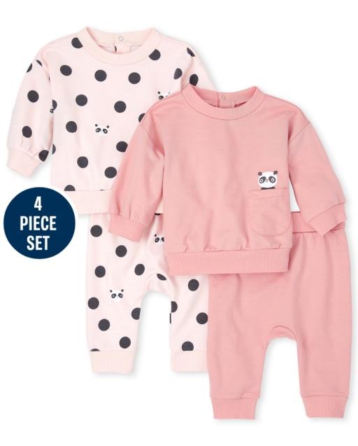 Baby Girls Long Sleeve Panda Sweatshirts And Knit Pants 4-Piece Playwear Set