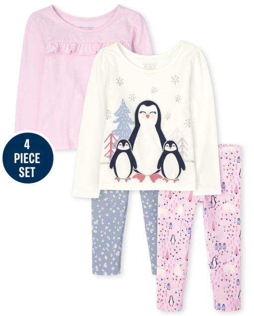Conjunto de 4 piezas de pingüino para niñas pequeñas