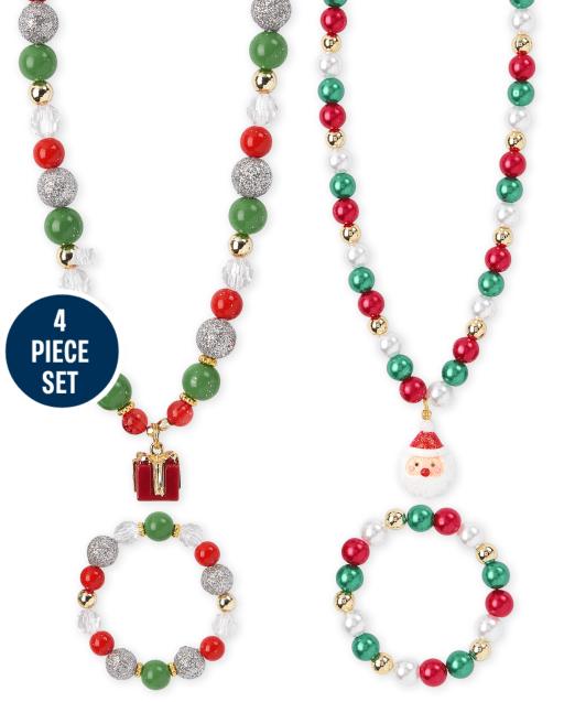 Girls Christmas Beaded Necklace And Bracelet 4-Piece Set
