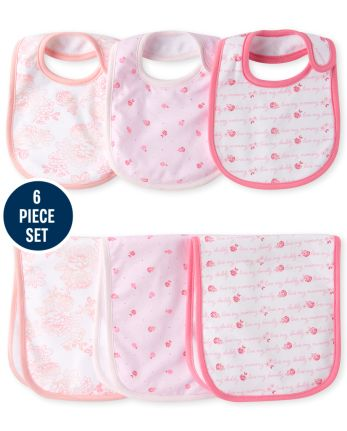 Baby Girls Rose Bib And Burp Cloth 6-Piece Set
