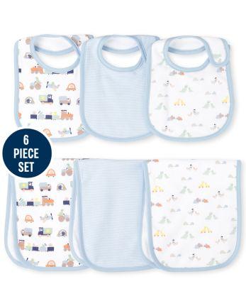 Baby Boys Transportation Bib And Burp Cloth 6-Piece Set