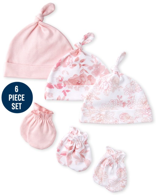 Baby Girls Rose Knotted Hat And Mittens 6-Piece Set