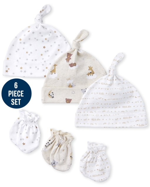 Unisex Baby Bear Knotted Hat And Mittens 6-Piece Set