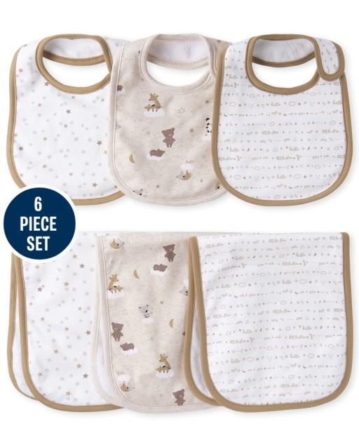 Unisex Baby Bear Bib And Burp Cloth 6-Piece Set